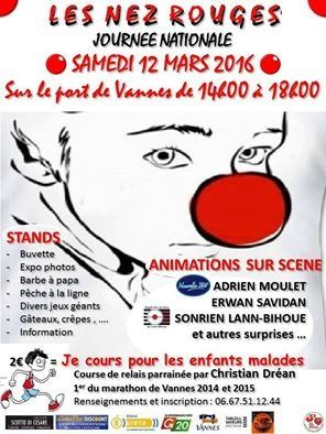 Je cours pour un enfant malade Dans le cadre de la journée nationale de l'association Les Nez Rouges qui se déroulera dans toute la France, L'antenne Les Nez Rouges de Vannes organise sur le Port de Vannes et sa promenade de La Rabine une COURSE DE RELAIS...