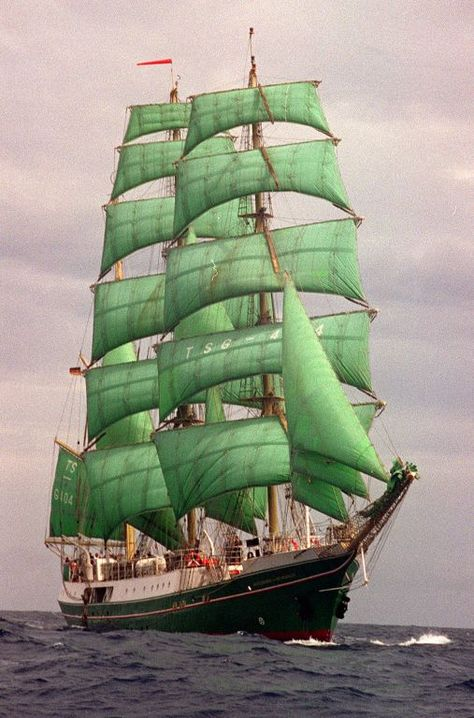 Tall Ship with Green Sails.  Why do I like this so much?
