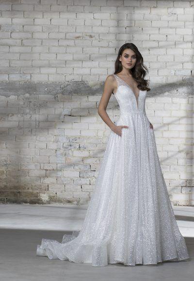 Sleeveless Glitter A Line V Neck Wedding Dress Kleinfeld Bridal Wedding Dresses Kleinfeld Pnina Tornai Wedding Dress Ball Gowns Wedding