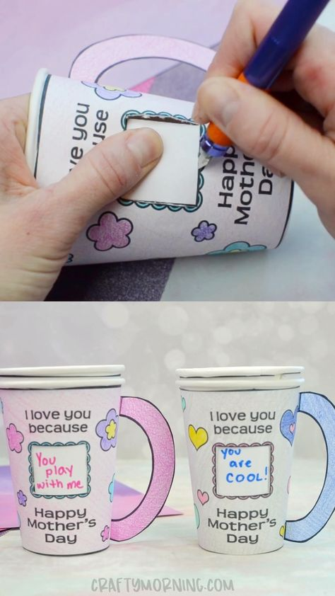 Mother's Day Coffee Cup Craft/Gift- adorable mothers day craft for kids. Homemade mothers day craft idea for kids to make for mom. Free printables for mothers day craft.