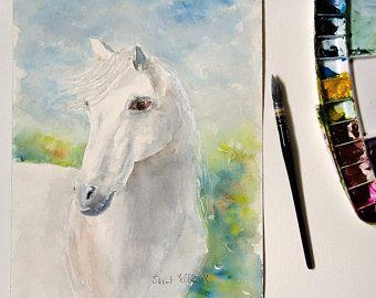 Peinture Aquarelle Originale De Cheval Cheval Noir Et Blanc