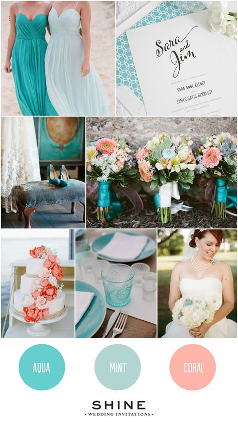 Bride to Be Reading ~ Aqua, Coral, and Mint Wedding Inspiration from Shine Wedding Invitations - How cute are those Anthropologie door knobs in the bouquet? Beach Wedding Colors, April Wedding Colors, Pastel Wedding Colors, Popular Wedding Colors, Shine Wedding Invitations, Teal Bridesmaid Dresses, Wedding Color Schemes, Wedding Color Palettes, Wedding Color Combinations