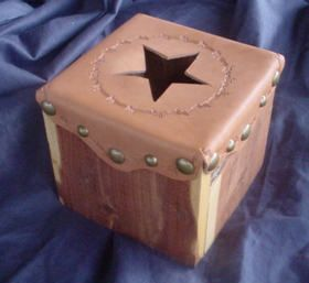 Wood & Leather Starred Tissue Box $31.95