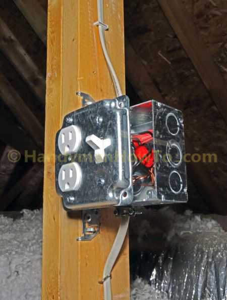 How To Wire An Attic Electrical Outlet And Light Junction Box Wiring Electrical Outlets Home Electrical Wiring Electricity