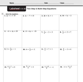 2 Step Equations Worksheets 8th Grade In 2020 Equations Multi Step Equations Worksheets