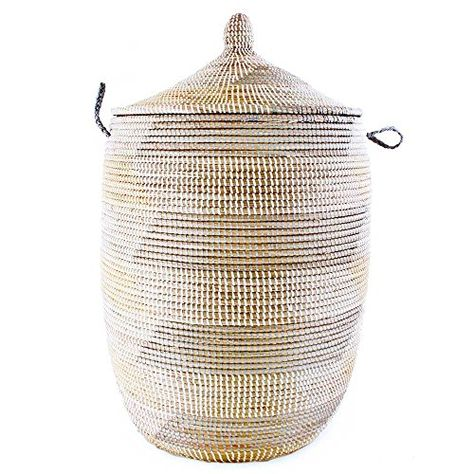 Large Woven Cream Chevron African Basket With Lid African