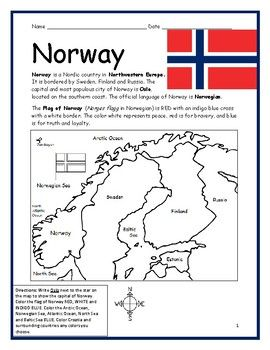 Norway Printable Handout With Map And Flag By Interactive Printables Teachers Pay Teachers Summer Book List Norway Social Studies Worksheets