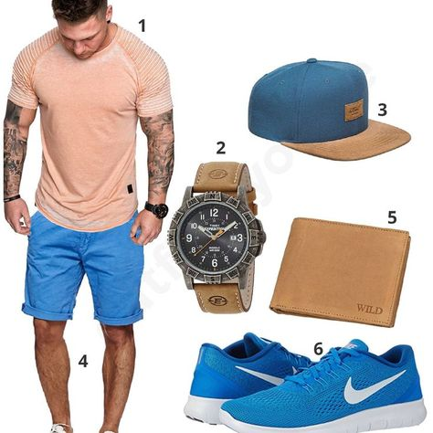 Beige-Hellblaues Herrenoutfit mit Shirt und Shorts Beige-Light Blue Men's Outfit with Shirt and Shorts –