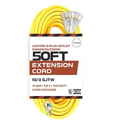 50 Foot Lighted Outdoor Extension Cord With 3 Electrical Power Outlets 10 3 Sjtw Yellow 10 Gauge Extension Cable With 3 Prong Grounded Plug For Safety In 2020 Outdoor Extension Cord Power Outlet Extension Cord