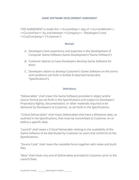 Game Software Development Contract  The Game Software Development