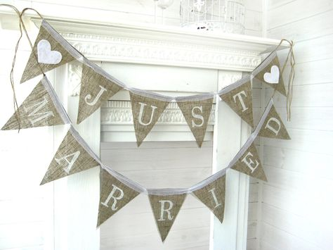 JUST MARRIED burlap banner, bunting, wedding banner, wedding garland, cake table banner. $34.00, via Etsy.