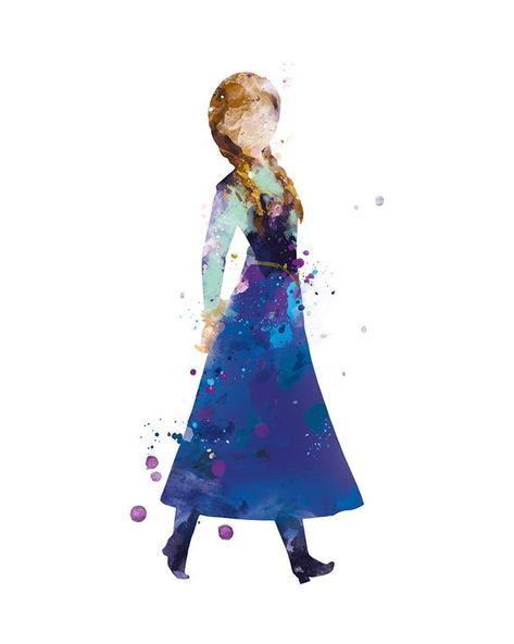 Princess Anna, Watercolor Art Print, Frozen, Disney, Wall Art, illustration, Home Decor, Nursery, Instant download