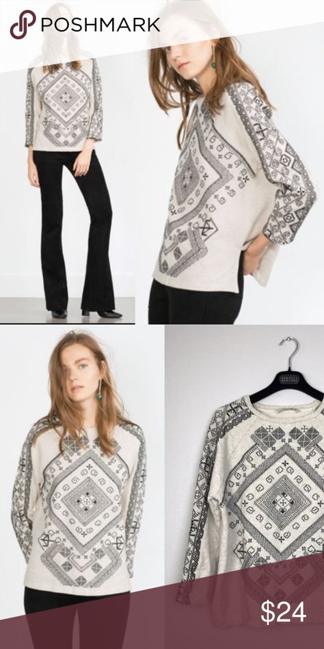 Pre-Owned Zara Basic Sweater Shirt Size Small Zara Basic Size Small Sweater Shirt Black Embroidered Cream Top Zara Sweaters