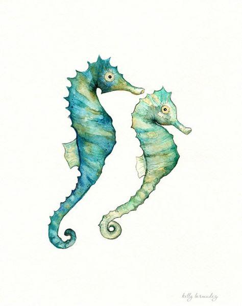 Seahorse Love /watercolor print/teal/light green/aqua/tan/sea/ocean life/ Archival Print. $20.00, via Etsy.