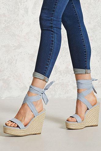 Ankle-Wrap Espadrille Wedges | Heels