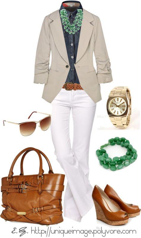 Outfit love, indigo denim blouse, white jeans, khaki blazer. Brighten it up with green accessories.