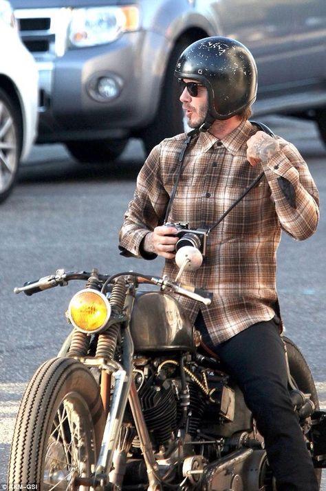 ddce481268 Easy Rider! David Beckham Cruises Around LA On Custom Vintage ...