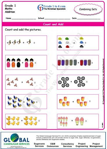 Free Math Worksheet Grade1 Addition Combining Sets These