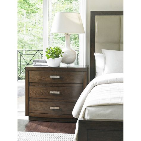 """This three drawer nightstand offers a soft convex front finished in a warm mocha finish with soft gray undertones and is elegantly complemented by custom designed drawer pulls in a lightly burnished silver coloration. Details: - Three drawers nightstand - Warm mocha finish Dimensions: - Overall: 34"""" w x 19"""" d x 30"""" h"""