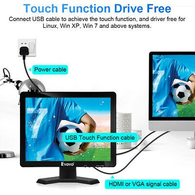 Ebay Link Ad Eyoyo 15 10 Point Touch Screen Monitor 1024 768 With Vga Hdmi Usb For Projector In 2020 Hdmi Vga Usb
