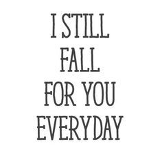"""You look at his eyes every morning and night, and fall all over again. You may not need this wall quote decal to help you fall in love again, but it's nice to have that visual reminder. Size: 23""""x34"""""""