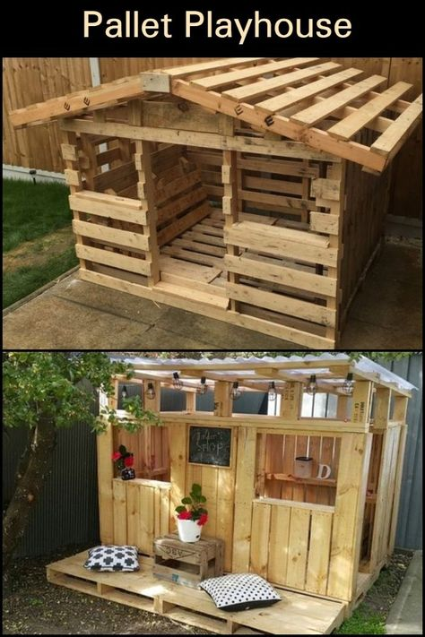 Build the Kids a Pallet Playhouse! Do your kids want a playhouse? Make one using reclaimed pallets! The post Build the Kids a Pallet Playhouse! appeared first on DIY Crafts. Pallet Playhouse, Build A Playhouse, Pallet Fort, Backyard Playhouse, Simple Playhouse, Outdoor Pallet, Outdoor Decor, Backyard Playground, Backyard For Kids