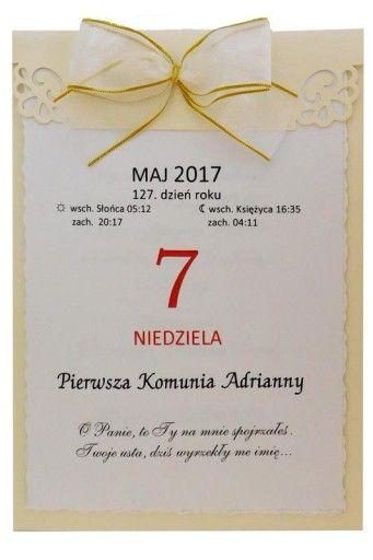 Komunia Zaproszenia Kalendarz Promocja Swiateczna 7089758665 Oficjalne Archiwum Allegro Place Card Holders Place Cards Cards