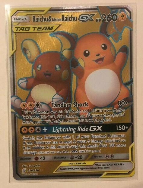 Full Art Rare Pokemon TCG Raichu /& Alolan Raichu #220//236 Mint Unified Minds