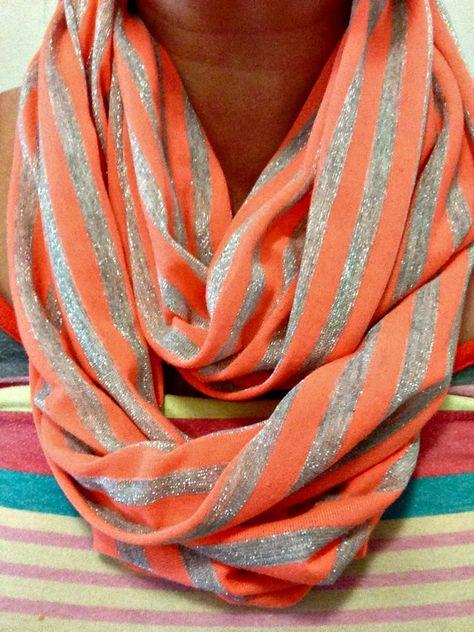Gray Neon Orange Zig Zag Chevron Bright Fleece Scarf