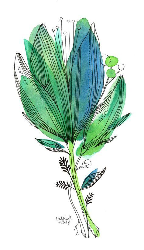 Fleur Vert Bleu Cecile Hudrisier Illustration Effet Aquarelle