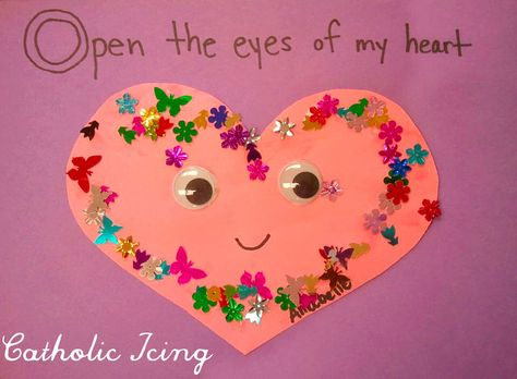 Open the eyes of my heart Lord - religious Valentine's craft for kids