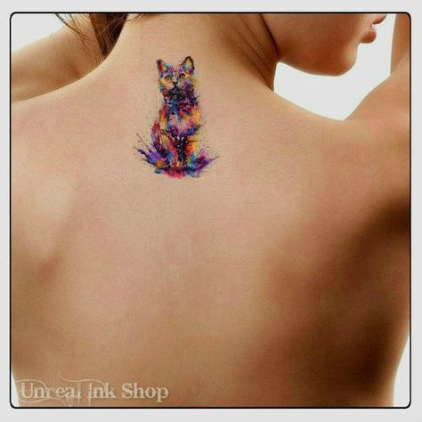 Temporary Tattoo Watercolor Cat Ultra Thin Realistic Waterproof Fake Tattoos You will the watercolor cat tattoo and full instructions. Dimension: 4H x 2.8W The tattoos last 5-7 days Waterproof, super easy to apply. Please read the full application instructions before applying the tattoo. Any