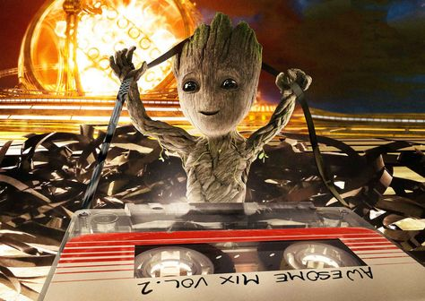 Desktop Wallpaper Happy Baby Groot, Guardians Of The Galaxy Vol. 2, 2017 Movie, Hd Image, Picture, Background, Tibsg6