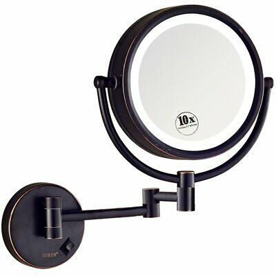 Advertisement Gurun Led Lighted Wall Mount Makeup Mirror With 10x Magnificationoil Rubbed B Wall Mounted Makeup Mirror Led Mirror Makeup Mirror