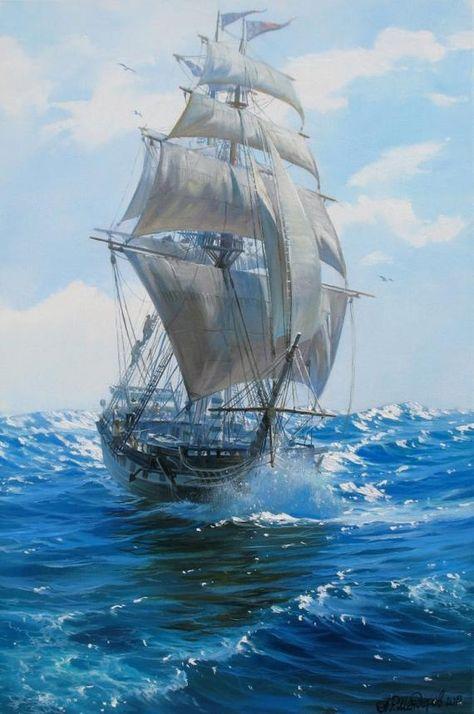 Ship painting by Alexander Shenderov ocean sail boat oil | Etsy