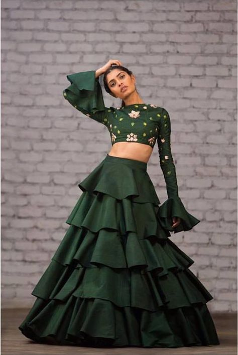 Love this ruffles deep green lehenga by Divya Reddy #Frugal2Fab