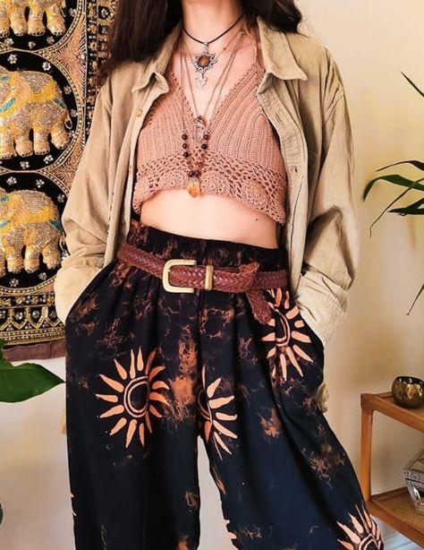 Fairly Traded, Sun Hippie, Black & Orange Batik Sun Trousers
