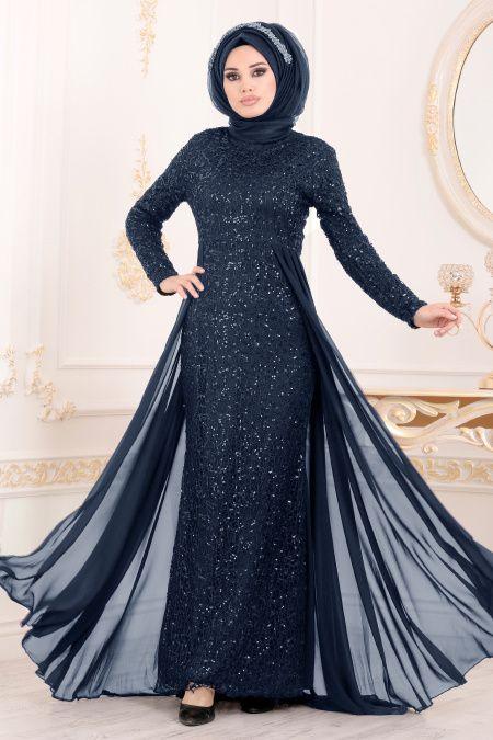 Nayla Collection Pullu Lacivert Tesettur Abiye Elbise 90000l The Dress Aksamustu Giysileri Mavi Abiye