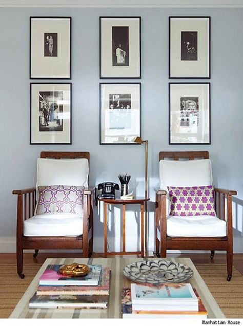 Rita Konig // Manhattan House // vintage chairs and Vanderhurd cushions