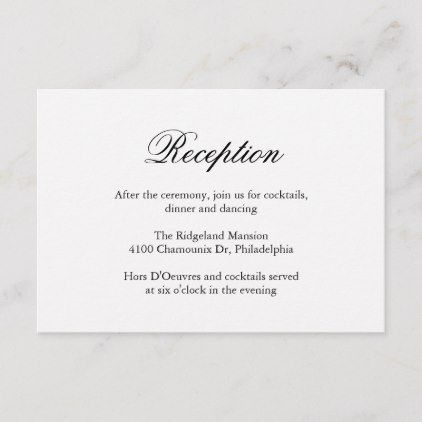 Traditional Calligraphy Formal Wedding Reception Enclosure Card