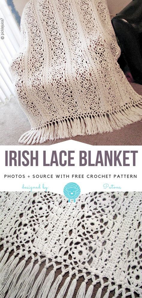 Crochet Afghan Patterns Irish Lace Blanket Free Crochet Pattern - This elegant white beauty is made with long stripes of lace and has its root in irish lace techniques. Irish Lace Blanket is delicate, has amazing pattern and Crochet Afghans, Motifs Afghans, Crochet Motifs, Afghan Crochet Patterns, Crochet Stitches, Crochet Hooks, Knitting Patterns, Lace Patterns, Blanket Crochet