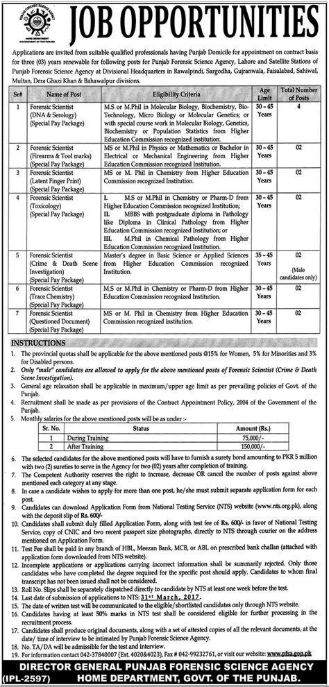 Director General Punjab Forensic Science Agency Jobs  March