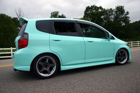 Tiffany Blue/Mint Honda Fit with Work Wheels