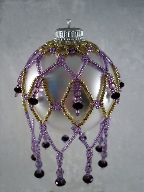 Gold and Purple Sabrina Ornament by KathysBeadTreasures on Etsy