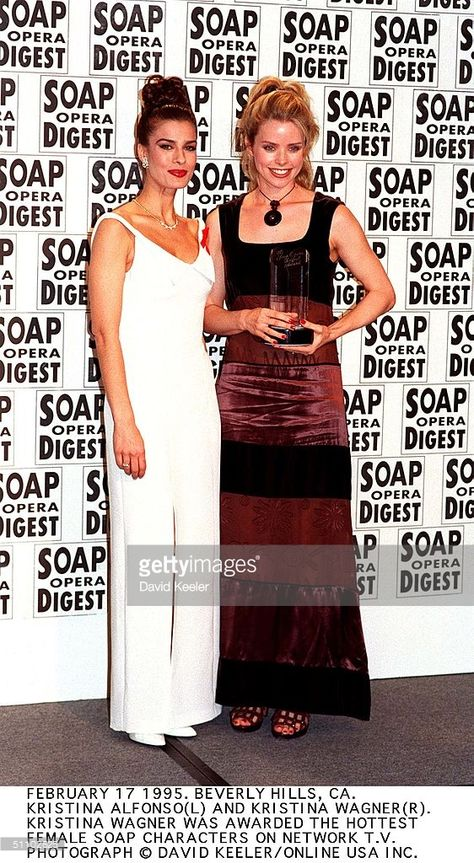 Feb 17 1995. Beverly Hills, Ca. Kristina Wagner And Kristina Alfonso At The Sopa Awards.The Former Won The Award For Hottest Female On Soap Network Tv.