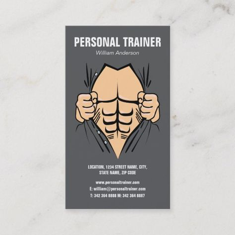 Personal Trainer Gym Muscle Exercise Business Card #business #cards #company #cards #business #BusinessCard #smallbusiness #businesssupplies #entrepreneur #business #businessman #businesswomen #officesupplies #office