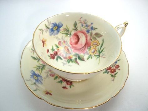 Beautiful pink shabby chic Paragon polka dot teacup and saucer set with cabbage roses and feathers throughout Perfect gift!