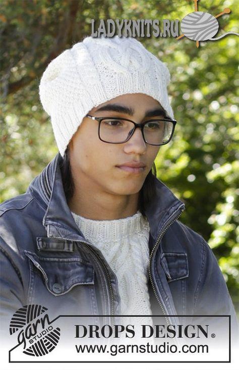 Красивая мужская шапка спицами с косами. Описание и схема ...