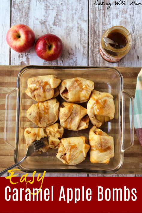 Easy caramel apple bombs with cinnamon sugar apples inside a roll. Drizzle with caramel, this dessert recipe is great for the fall season! #fallrecipe #dessertrecipe
