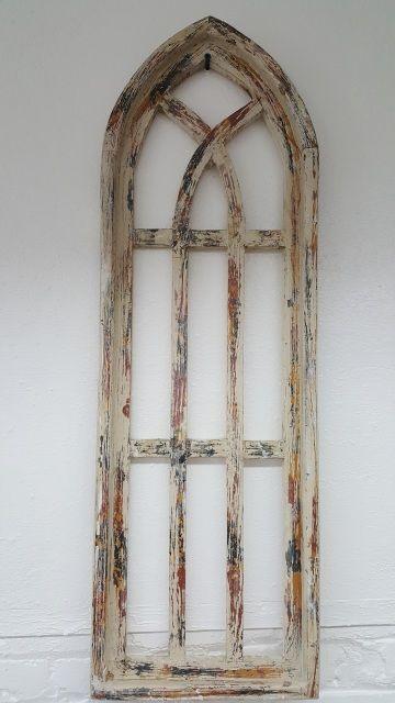 Large Cream Wood Window Frame Arch Window Frame Decor Arched Wall Decor Frame Wall Decor